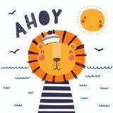 Śliczny lwa żeglarz ilustracja wektor