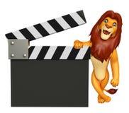 Śliczny lwa postać z kreskówki z clapboard Fotografia Stock