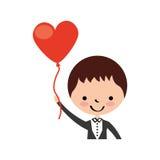 Śliczny mąż z sercem kształtującym pompuje avatar charakteru Fotografia Royalty Free