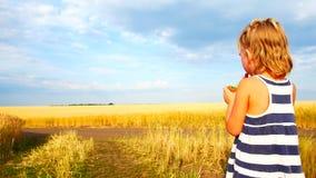 Śliczny małe dziecko je ogórek w polu Dzieciaki jedzą warzywa outdoors Zdrowa przek?ska dla dzieci zbiory wideo