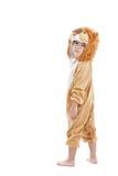 Śliczny małe dziecko ubierający w lwa kostiumu fotografia stock