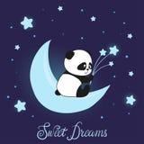 Śliczny małej pandy niedźwiedź na księżyc Słodcy sen wektorowi royalty ilustracja