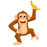 Śliczny małpi kreskówki łasowania banan ilustracja wektor