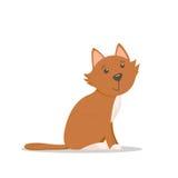 Śliczny mały czerwony kot, figlarki obsiadanie, bocznego widoku kreskówki ilustracja Obrazy Royalty Free