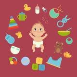 Śliczny mały dziecko w pieluszce z nowonarodzonymi podstawami Fotografia Royalty Free