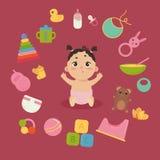 Śliczny mały dziecko w pieluszce z nowonarodzonymi podstawami Obrazy Royalty Free
