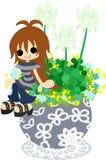 Śliczny mały flowerpot - biała koniczyna Zdjęcie Royalty Free