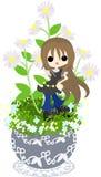 Śliczny mały flowerpot - Erigeron philadelphicus- Zdjęcie Stock