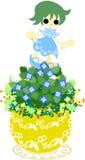Śliczny mały flowerpot - Veronica persica- Zdjęcia Royalty Free