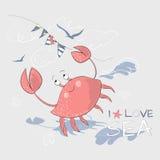 Śliczny mały krab i flaga z sloganem ilustracja wektor