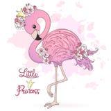 Śliczny Mały Princess flaming z kwiatami Wektorowa ilustracja EPS10 obrazy stock