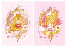 Śliczny mały princess z lekki blond długie włosy ilustracji