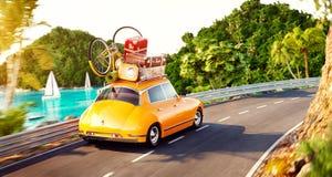 Śliczny mały retro samochód z walizkami i bicyklem na wierzchołku iść drogą ilustracji