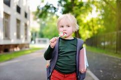 Śliczny mały uczeń z jego lizakiem i plecakiem tylna koncepcji do szkoły Obraz Royalty Free