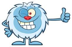 Śliczny Mały yeti kreskówki maskotki charakter Mruga kciuk Up I Trzyma Zdjęcie Stock