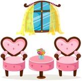 Śliczny menchia stół, krzesła i ilustracji