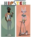 Śliczny moda modnisia pies i kot ilustracji