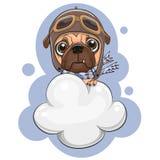 Śliczny mopsa pies lata na chmurze ilustracja wektor
