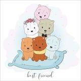 Śliczny najlepszy przyjaciel kreskówki zwierząt ręki rysunku styl royalty ilustracja