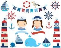 Śliczny nautyczny set z łodziami, latarniami morskimi i wielorybami, royalty ilustracja