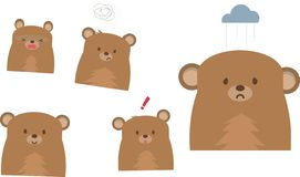 Śliczny niedźwiadkowy emoji wektor na białym tle royalty ilustracja