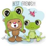 Śliczny niedźwiedź i żaba ilustracja wektor
