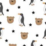 Śliczny niedźwiedź i pingwin bezszwowi ilustracji