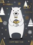 Śliczny niedźwiedź polarny z Wesoło bożymi narodzeniami wpisowymi ilustracji