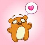 Śliczny niedźwiedź w miłości z mowa bąblem również zwrócić corel ilustracji wektora Obraz Stock