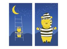 Śliczny niedźwiedź wspina się księżyc Śpiący niedźwiedź przygotowywa wspinać się księżyc spać royalty ilustracja
