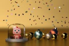 Śliczny niedźwiedź z Bożenarodzeniowym piłki złota tłem ilustracja 3 d Obraz Royalty Free