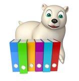 Śliczny niedźwiedzia polarnego postać z kreskówki z kartotekami Fotografia Royalty Free