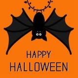 Śliczny nietoperza obwieszenie na pierścionku z liśćmi szczęśliwy karciany Halloween Płaski projekt Pomarańczowy tło ilustracji