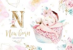 Śliczny nowonarodzony akwareli dziecko Nowonarodzonego dziecka chłopiec i dziewczyny ilustracyjny obraz Dziecko prysznic odosobni ilustracji