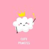 Śliczny obłoczny princess z magiczną różdżką Mieszkanie styl tła karciany prelambulator paskujący wektor Fotografia Royalty Free