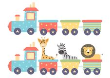 Śliczny odosobniony pociąg dla dziecko projekta ilustracja wektor