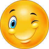 Śliczny ono uśmiecha się i mrugać emoticon ilustracja wektor