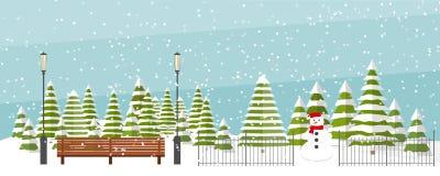 Śliczny płaski wektorowy zimy tło ilustracja wektor