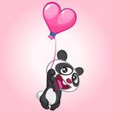 Śliczny pandy latanie na kształtującym balonie Wektorowy charakter na St walentynek dniu Fotografia Royalty Free