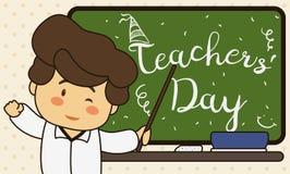 Śliczny pedagog Świętuje jego dzień z powitanie wiadomością w Chalkboard, Wektorowa ilustracja ilustracja wektor