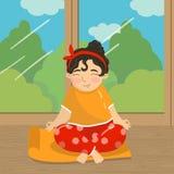 Śliczny piękny dziewczyny obsiadanie w lotosowej pozyci na tle okno z i medytować, nastoletniej dziewczyny ćwiczy joga Obraz Stock