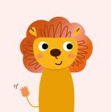 Śliczny piękny kreskówka lew odizolowywający na menchiach ilustracji