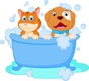 Śliczny pies i kot skąpanie ilustracja wektor