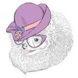 Śliczny pies w damy ` kapeluszu i okularach przeciwsłonecznych royalty ilustracja