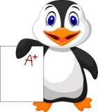 Śliczny pingwin pokazuje A plus stopień royalty ilustracja