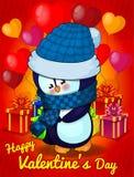 Śliczny pingwin, wektorowa ilustracja, projekta St walentynki ` s Pocztówkowy dzień ilustracji
