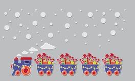 Śliczny pociąg z pudełkami i baloons na prezent karcie Fotografia Stock