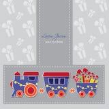 Śliczny pociąg z pudełkami i baloons na prezent karcie Zdjęcia Stock
