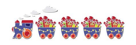 Śliczny pociąg z pudełkami i baloons na prezent karcie Fotografia Royalty Free