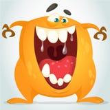 Śliczny pomarańczowy potwór Wektorowy charakter Obrazy Stock